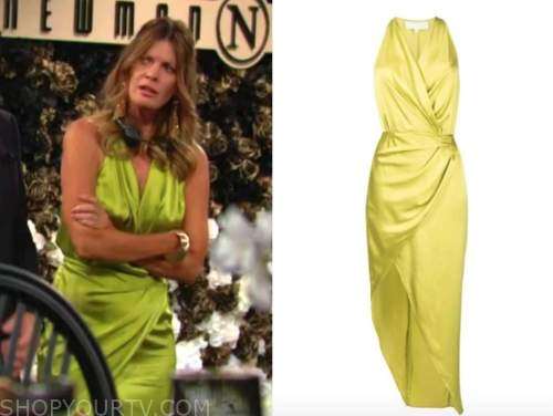 Michelle stafford, the young and the restless, Phyllis newman, green silk drape dress