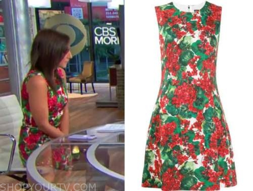 Laurie seagall, cbs this morning, red and green floral dress