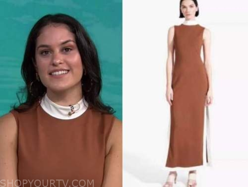 donna farizan, the today show, brown and white contrast trim dress