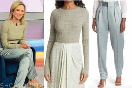 Amy Robach, good morning America, green sweater, blue pants, Amy Robach