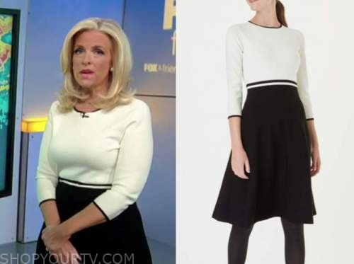 janice dean, fox and friends, white and black knit dress