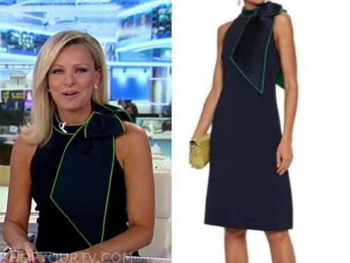 Sandra Smith, navy blue contrast trim bow dress, America's newsroom