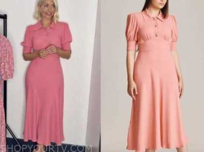holly Willoughby, this morning, pink polo midi dress
