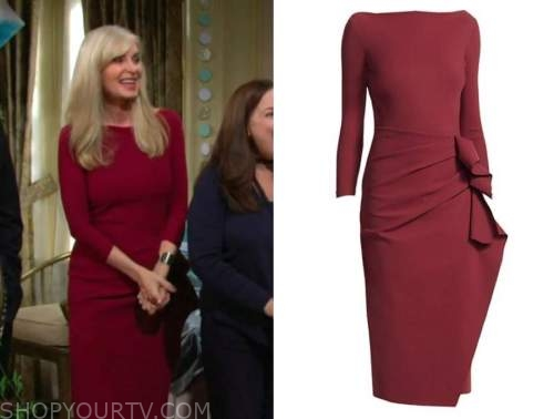 Ashley abbott, eileen davidson, burgundy red dress, the young and the restless