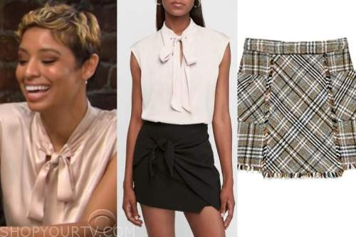 Elena Dawson, brytni sarpy, the young and the restless, pink tie neck top, tweed plaid skirt