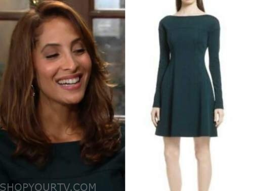 lily winters, Christel khalil, the young and the restless, green long sleeve dress