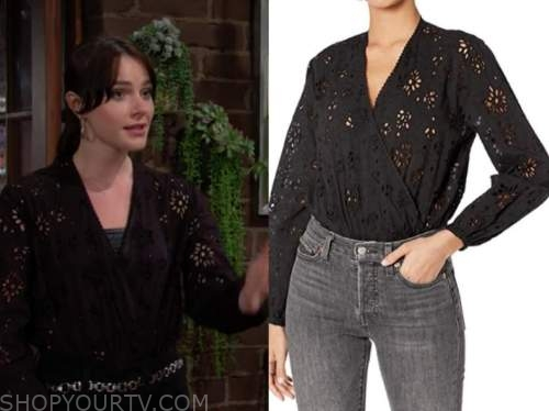 Tessa Porter, Cait fairbanks, the young and the restless, black eyelet bodysuit top