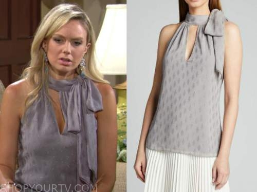 abby newman, melissa ordway, the young and the restless, grey halter top