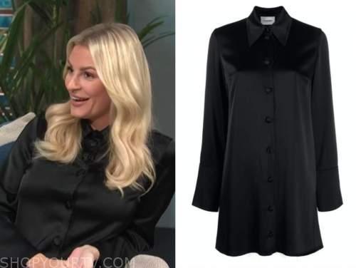 Morgan Stewart, E! news, daily pop, black satin shirt dress