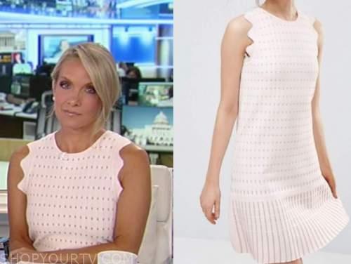 dana perino, america's newsroom, pink knit scallop dress