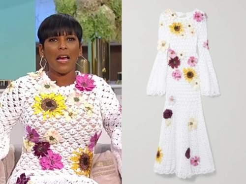 Tamron Hall, Tamron Hall show, white floral crochet midi dress