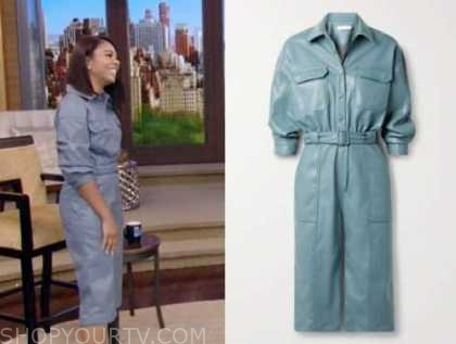 regina hall, live with kelly and Ryan, blue leather jumpsuit