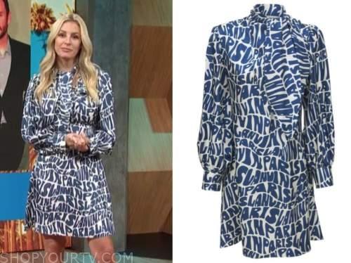 Morgan Stewart mcgraw, E! news, daily pop, logo blue tie neck silk dress