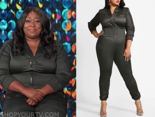Loni Love, E! news, daily pop, grey smocked waist jumpsuit