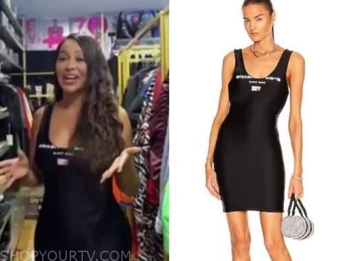 la la Anthony, E! news, daily pop, black logo scoop neck dress