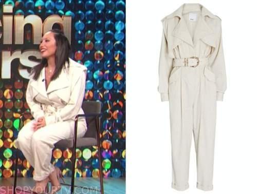 Cheryl burke, E! news, daily pop, ivory trench jumpsuit