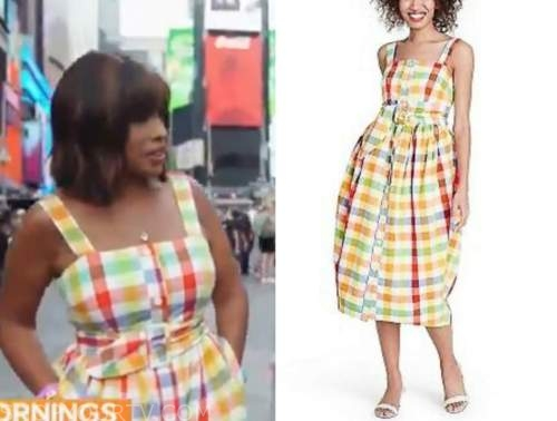 cbs mornings, Gayle King, multicolor check dress