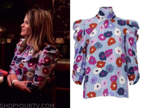 Jenna bush hager, the today show, blue floral mock neck top