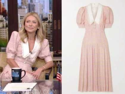 Kelly Ripa, live with kelly and Ryan, pink houndstooth collar midi pleated dress