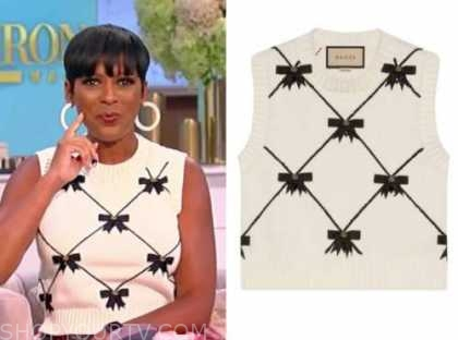 Tamron Hall, Tamron Hall show, black and white bow sweater vest
