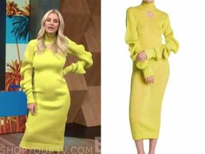 Morgan Stewart, E! news, daily pop, lime green turtleneck knit midi dress