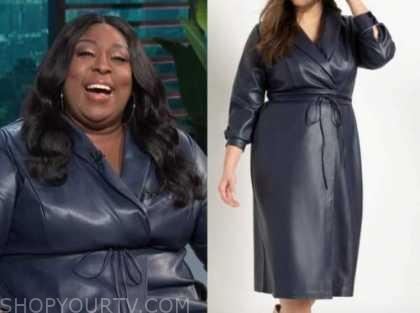Loni Love, E! news, daily pop, blue leather dress