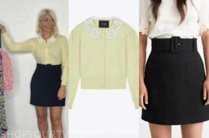 Holly Willoughby, this morning, yellow cardigan, black skirt