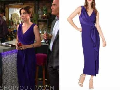 Victoria newman, amelia heinle, the young and the restless, purple dress