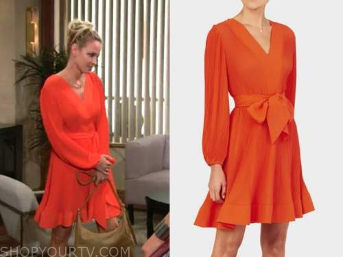 Sharon Newman, sharon case, coral red pleated dress, the young and the restless