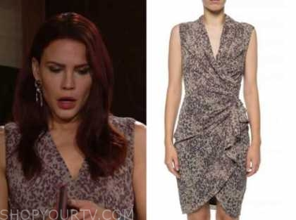 sally spectra, Courtney hope, the young and the restless, leopard drape dress
