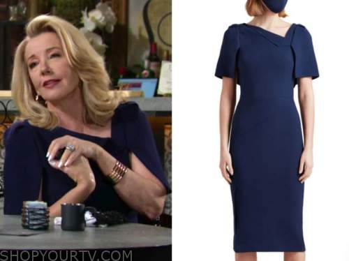 Nikki newman, melody Thomas Scott, navy blue cape sheath dress, the young and the restless