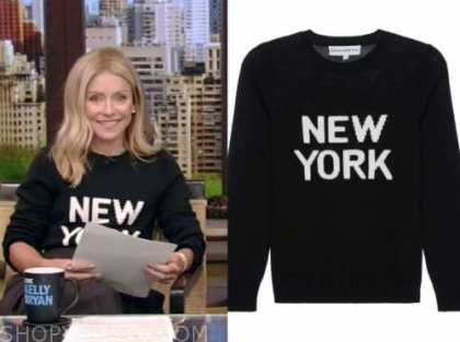 Kelly Ripa, live with kelly and Ryan, black and white New York sweater