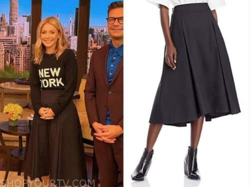 Kelly Ripa, live with kelly and Ryan, black midi skirt
