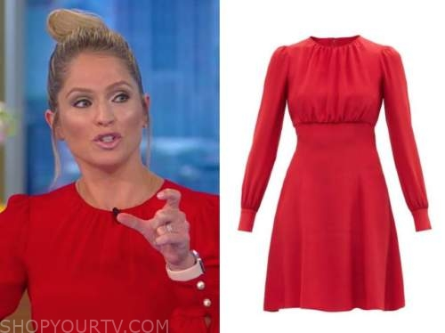 Sara Haines, the view, red pearl button long sleeve dress