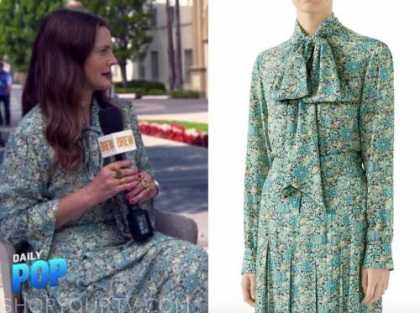 Drew Barrymore, E! news, daily pop, green floral tie neck top and skirt