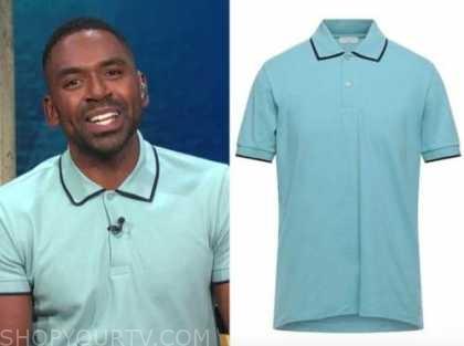 Justin Sylvester, E! news, daily pop, blue polo shirt