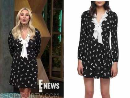 Morgan Stewart mcgraw, black and white bow ruffle dress, E! news, daily pop