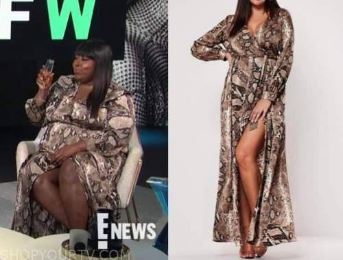 Loni Love, E! news, daily pop, brown snakeskin dress