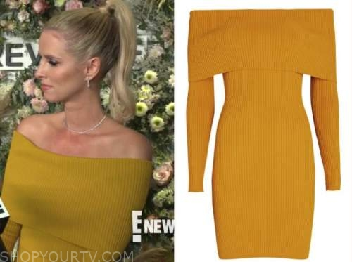 Nicky Hilton, yellow knit off-the-shoulder dress, E! news, daily pop