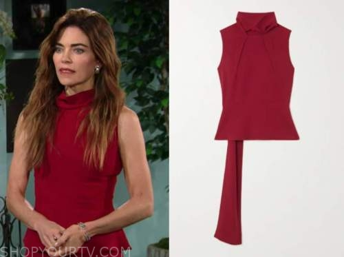 Victoria Newman, Amelia heinle, the young and the restless, red mock neck top