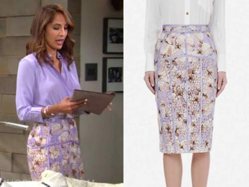 lily winters, Christel khalil, the young and the restless, purple floral pencil skirt