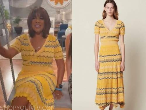 Gayle King, cbs mornings, yellow knit zigzag top and skirt