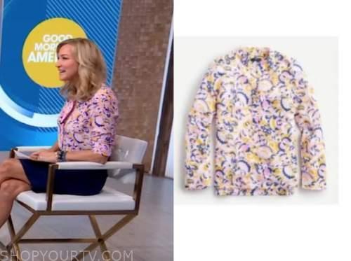 Lara Spencer, good morning america, pink printed top