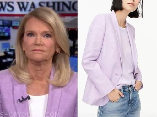 Martha Raddatz, good morning america, purple linen blazer