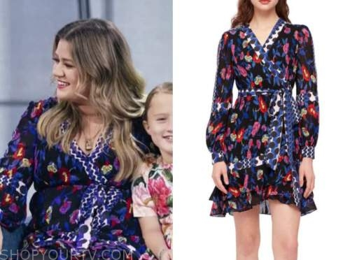 Kelly Clarkson, the Kelly Clarkson show, floral dot wrap dress