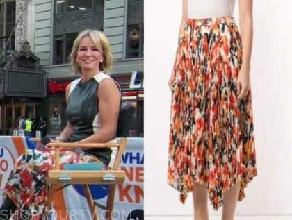 dr. Jennifer Ashton, orange printed pleated skirt, good morning america