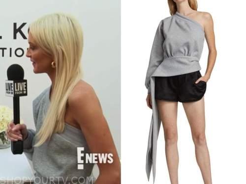 Zanna Roberts rassi, E! news, daily pop, grey one-shoulder sweater