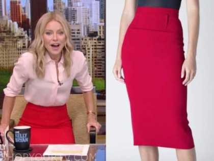 Kelly Ripa, red pencil skirt, live with kelly and Ryan