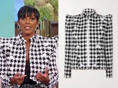 Tamron Hall, Tamron Hall show, black and white tweed padded shoulder jacket