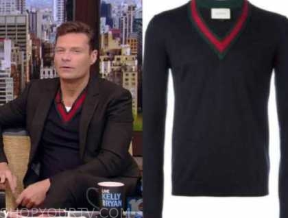 Ryan Seacrest, live with kelly and Ryan, navy blue gucci sweater